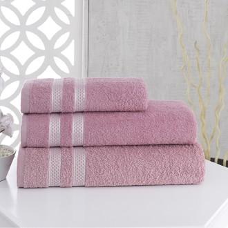 Полотенце для ванной Karna PETEK хлопковая махра грязно-розовый