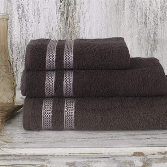 Полотенце для ванной Karna PETEK хлопковая махра коричневый 100*150