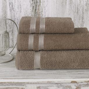Полотенце для ванной Karna PETEK хлопковая махра кофейный 100х150