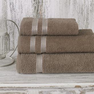 Полотенце для ванной Karna PETEK хлопковая махра (кофейный)