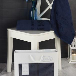 Подарочный набор полотенец для ванной Karna REBEKA 50х90, 70х140 хлопковая махра синий
