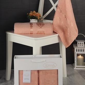 Подарочный набор полотенец для ванной Karna REBEKA 50*90, 70*140 хлопковая махра абрикосовый
