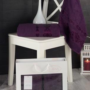 Подарочный набор полотенец для ванной Karna REBEKA 50х90, 70х140 хлопковая махра фиолетовый