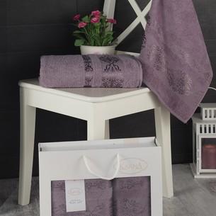 Подарочный набор полотенец для ванной Karna REBEKA 50х90, 70х140 хлопковая махра светло-лавандовый