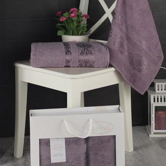 Подарочный набор полотенец для ванной Karna REBEKA 50*90, 70*140 хлопковая махра (светло-лавандовый)