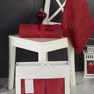 Подарочный набор полотенец для ванной Karna REBEKA 50*90, 70*140 хлопковая махра (красный)