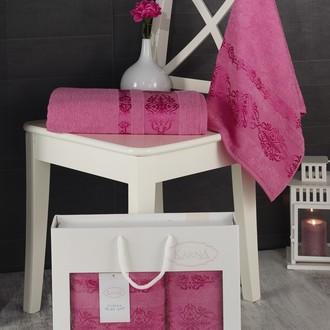 Подарочный набор полотенец для ванной Karna REBEKA 50*90, 70*140 хлопковая махра розовый