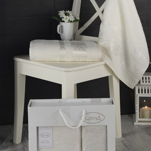 Подарочный набор полотенец для ванной Karna REBEKA 50х90, 70х140 хлопковая махра кремовый