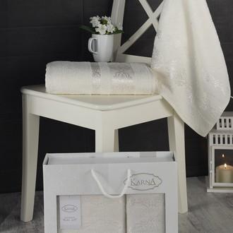 Подарочный набор полотенец для ванной Karna REBEKA 50*90, 70*140 хлопковая махра кремовый