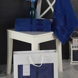 Подарочный набор полотенец для ванной Karna REBEKA 50х90, 70х140 хлопковая махра парламент