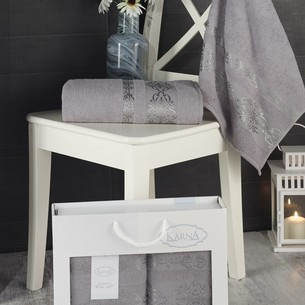 Подарочный набор полотенец для ванной Karna REBEKA 50х90, 70х140 хлопковая махра серый