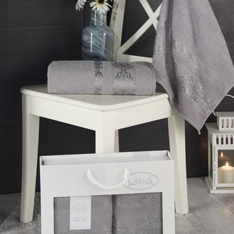 Подарочный набор полотенец для ванной Karna REBEKA 50*90, 70*140 хлопковая махра серый