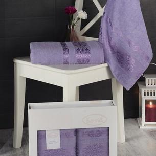 Подарочный набор полотенец для ванной Karna REBEKA 50х90, 70х140 хлопковая махра сиреневый