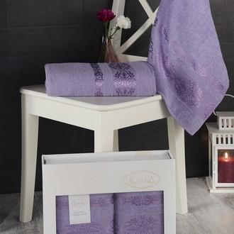 Подарочный набор полотенец для ванной Karna REBEKA 50*90, 70*140 хлопковая махра сиреневый