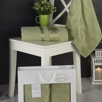 Подарочный набор полотенец для ванной Karna REBEKA 50х90, 70х140 хлопковая махра тёмно-зелёный