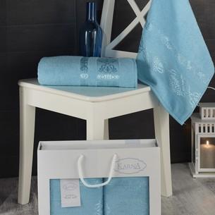 Подарочный набор полотенец для ванной Karna REBEKA 50х90, 70х140 хлопковая махра бирюзовый