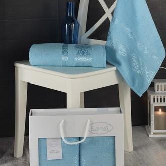 Подарочный набор полотенец для ванной Karna REBEKA 50*90, 70*140 хлопковая махра бирюзовый