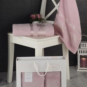 Подарочный набор полотенец для ванной Karna REBEKA 50х90, 70х140 хлопковая махра грязно-розовый
