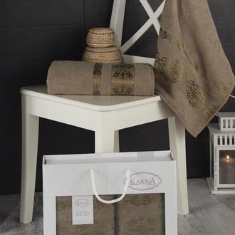 Подарочный набор полотенец для ванной Karna REBEKA 50*90, 70*140 хлопковая махра кофейный