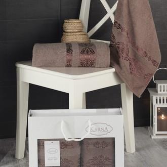 Подарочный набор полотенец для ванной Karna REBEKA 50*90, 70*140 хлопковая махра (коричневый)