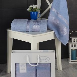 Подарочный набор полотенец для ванной Karna REBEKA 50х90, 70х140 хлопковая махра голубой