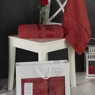 Подарочный набор полотенец для ванной Karna REBEKA 50*90, 70*140 хлопковая махра (кирпичный)