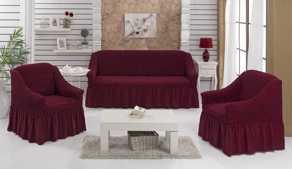 Набор чехлов на трёхместный диван и кресла (2 шт.) Bulsan EVERY (бордовый), фото, фотография