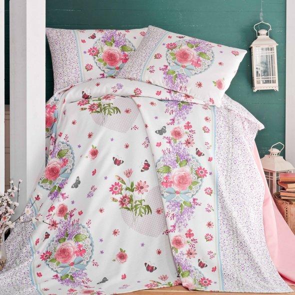 Комплект постельного белья без пододеяльника Evim 06 хлопковый ранфорс евро, фото, фотография