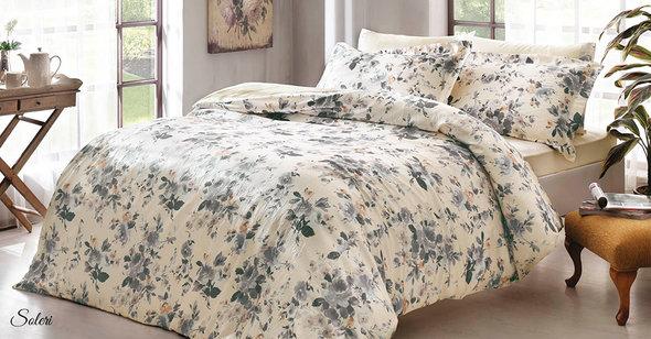 Комплект постельного белья Tivolyo Home SOLERI жатый хлопковый сатин (кремовый) евро, фото, фотография