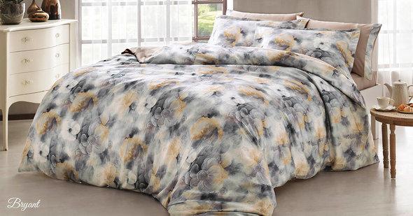 Комплект постельного белья Tivolyo Home BRYANT жатый хлопковый сатин (коричневый) евро, фото, фотография