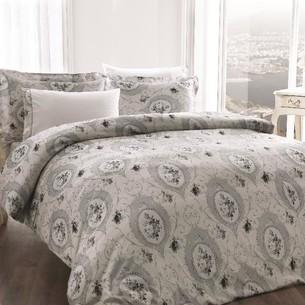 Постельное белье Tivolyo Home ANGEL жатый хлопковый сатин серый евро