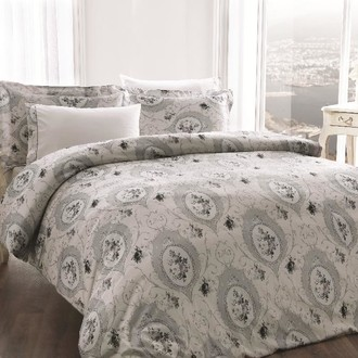 Комплект постельного белья Tivolyo Home ANGEL жатый хлопковый сатин (серый)
