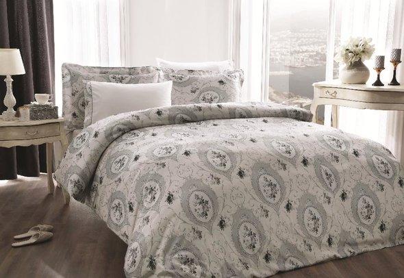 Комплект постельного белья Tivolyo Home ANGEL жатый хлопковый сатин (серый) евро, фото, фотография