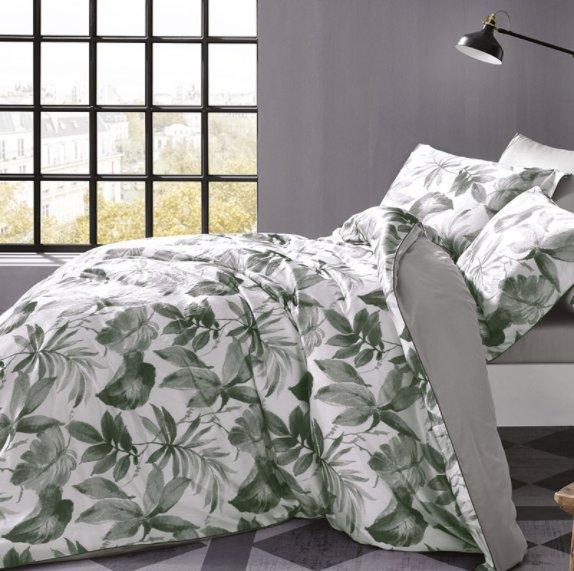Комплект постельного белья Tivolyo Home PIANTE жатый хлопковый сатин (серый) евро, фото, фотография