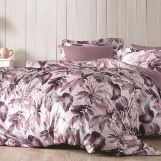 Комплект постельного белья Tivolyo Home PIANTE жатый хлопковый сатин (фиолетовый)