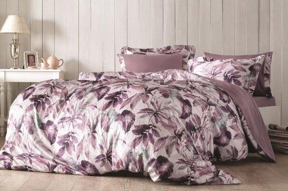 Комплект постельного белья Tivolyo Home PIANTE жатый хлопковый сатин (фиолетовый) евро, фото, фотография