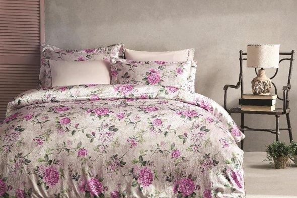 Комплект постельного белья Tivolyo Home LIGNUM жатый хлопковый сатин (бежевый) евро, фото, фотография