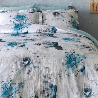 Комплект постельного белья Tivolyo Home DONNA жатый хлопковый сатин (синий)