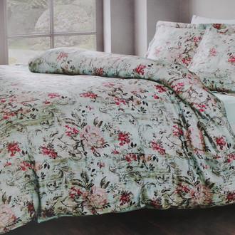 Комплект постельного белья Tivolyo Home ARTEGNA жатый хлопковый сатин (голубой)