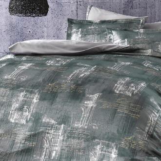 Постельное белье Tivolyo Home MARSALIS жатый хлопковый сатин серый