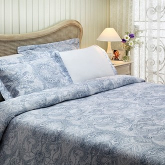 Постельное белье Tivolyo Home CRISTA жатый хлопковый сатин голубой