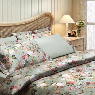 Комплект постельного белья Tivolyo Home ANGELICA жатый хлопковый сатин (зелёный)