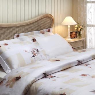 Комплект постельного белья Tivolyo Home WILD ORCHIDS жатый хлопковый сатин (белый)