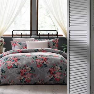 Постельное белье Tivolyo Home VITTA сатин, жатый шёлк розовый семейный