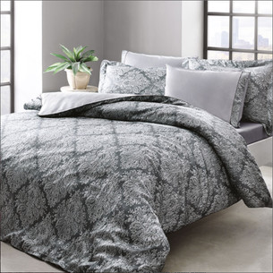 Постельное белье Tivolyo Home SCILIA сатин, жатый шёлк серый 1,5 спальный