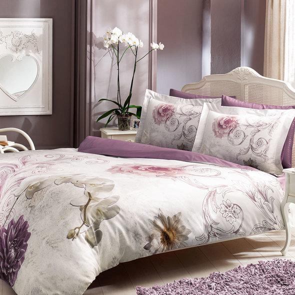 Комплект постельного белья Tivolyo Home LENE хлопковый люкс-сатин 1,5 спальный, фото, фотография