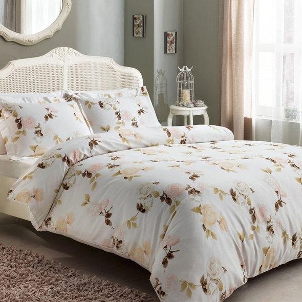 Постельное белье Tivolyo Home POEM хлопковый люкс-сатин кремовый 1,5 спальный, фото, фотография