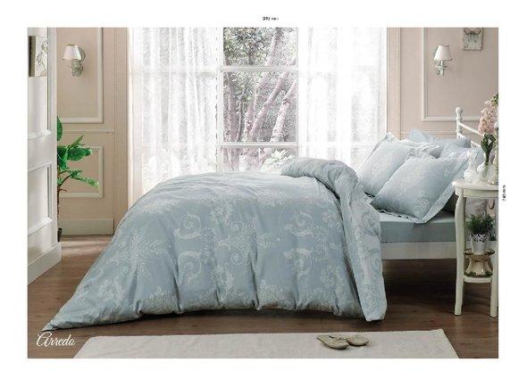 Комплект постельного белья Tivolyo Home ARREDO хлопковый люкс-сатин (бирюзовый) евро, фото, фотография