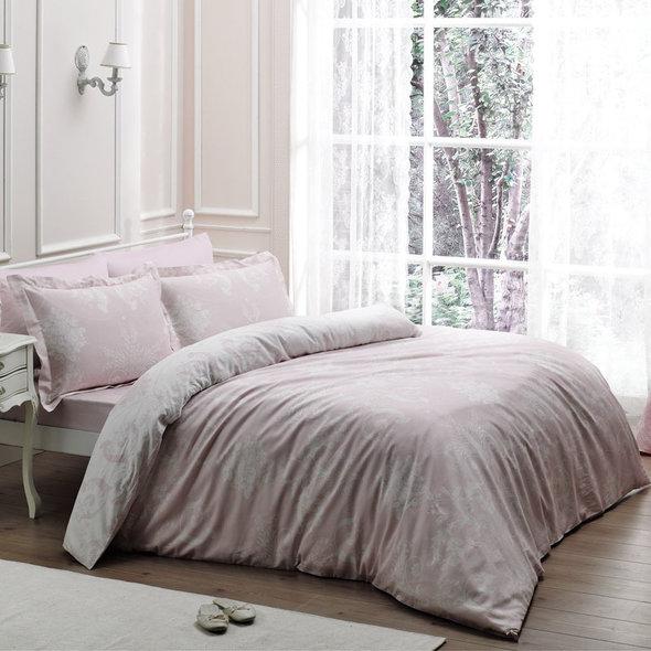 Комплект постельного белья Tivolyo Home ARREDO хлопковый люкс-сатин (розовый) 1,5 спальный, фото, фотография