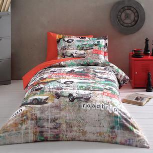 Постельное белье Tivolyo Home GARAGE хлопковый люкс-сатин 1,5 спальный